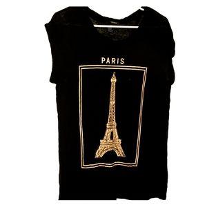 Black & Cream Eiffel Print - •F21• | PARIS Tee